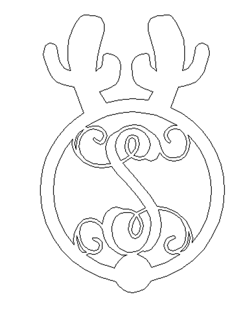 Reindeer Monogram Letter WS