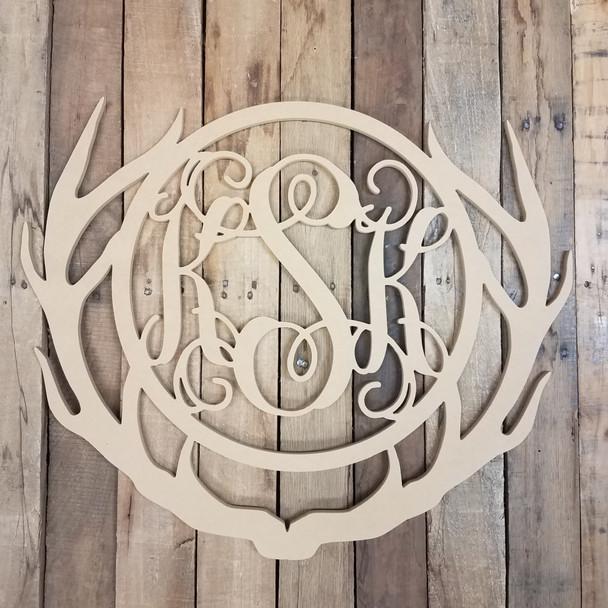 Unfinished Wooden Antler Circle Vine 3 Letter Monogram WS