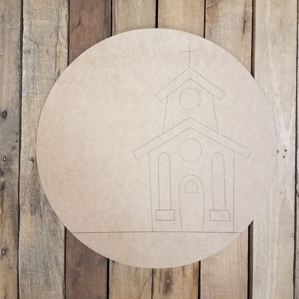 Church Announcement Sign Circle, Unfinished Craft, Paint by Line WS