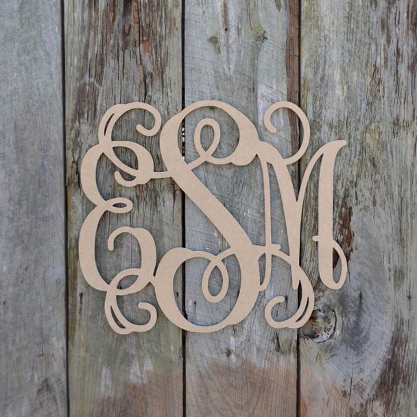 Unfinished Wooden 3 - Letter Vine Monogram WS
