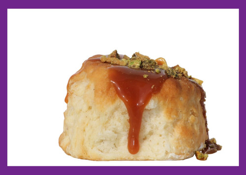 Apple Pear Pistachio -This delicious gourmet biscuit is filled with plump fresh apples and pears. Finished with the smoothest homemade caramel and topped with fresh roasted pistachios.  Pairs very well with your favorite glass of white wine.