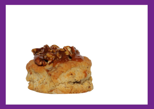 Bananas Foster-The favorite by all and our #1 seller...a decadent dessert biscuit made with our signature homemade bananas foster. Topped with our homemade salted caramel pecan-pralines.