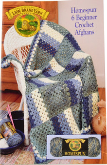 Lion Brand 6 Beginner Crochet Afghans Homespun - Book