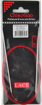 """ChiaoGoo Tools Knit Red Lace 47"""" Stainless Steel Circular Knitting Needles (Size US 1 - 2.25 mm)"""