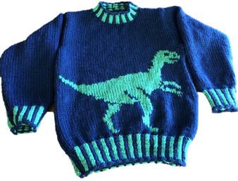 Dinosaur Child's Sweater and Hat (Velociraptor) - Downloadable Pattern