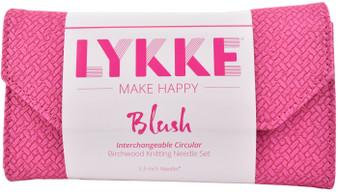 """LYKKE Blush 3.5"""" Interchangeable Circular Birchwood Knitting Needles Set (9 Pairs) - Magenta Basketweave"""