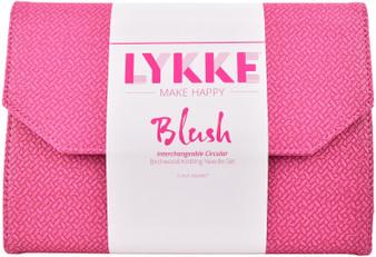 """LYKKE Blush 5"""" Interchangeable Circular Birchwood Knitting Needles Set (12 Pairs) - Magenta Basketweave"""