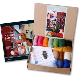Felting Wool Needle Felting Starter Kit (Incl. 4 Needles, Fibre, Foam Block, The Ashford Book Of Needle Felting)
