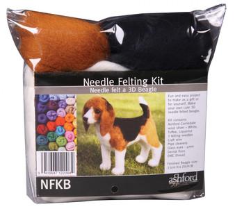 Felting Wool Beagle Needle Felting Kit (Incl. Foam Block, Instructions, Sliver, Needles, Wire, Eyes And Thread)