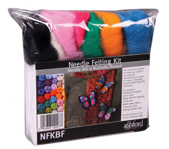 Felting Wool Butterfly Needle Felting Kit (Incl.Foam Block, Inst., Sliver, Needles, Clips, Wire And Felt Backing)