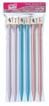 "Susan Bates Silvalume 6-Pack 10"" Single Point Knitting Needles Set (Sizes 8 mm - 10 mm)"