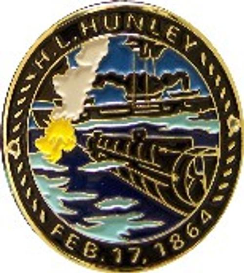 Hunley Attacks Hiking Stick Medallion