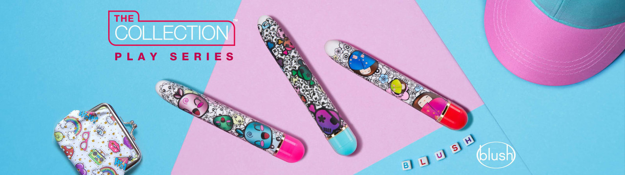 The Collection Play Series - 3 slimline vibrators with colorful patterns.
