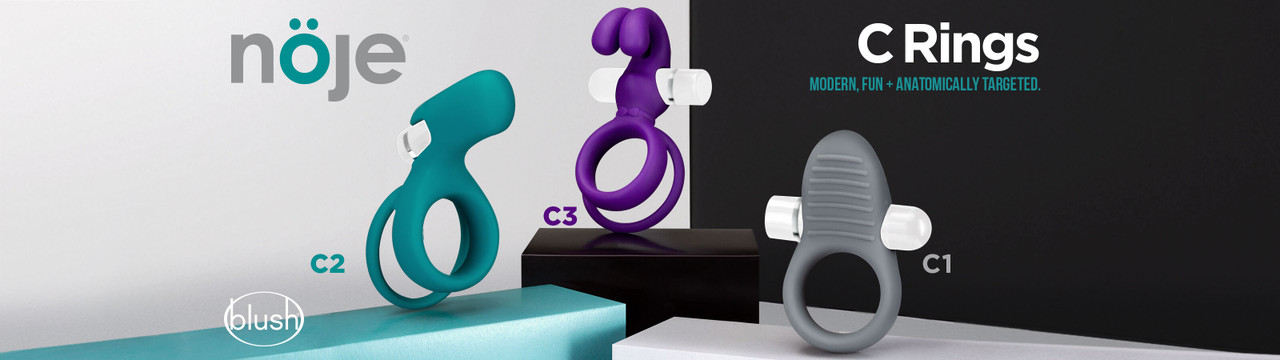 Noje c rings - three different cock rings with vibrating bullets and extensions.
