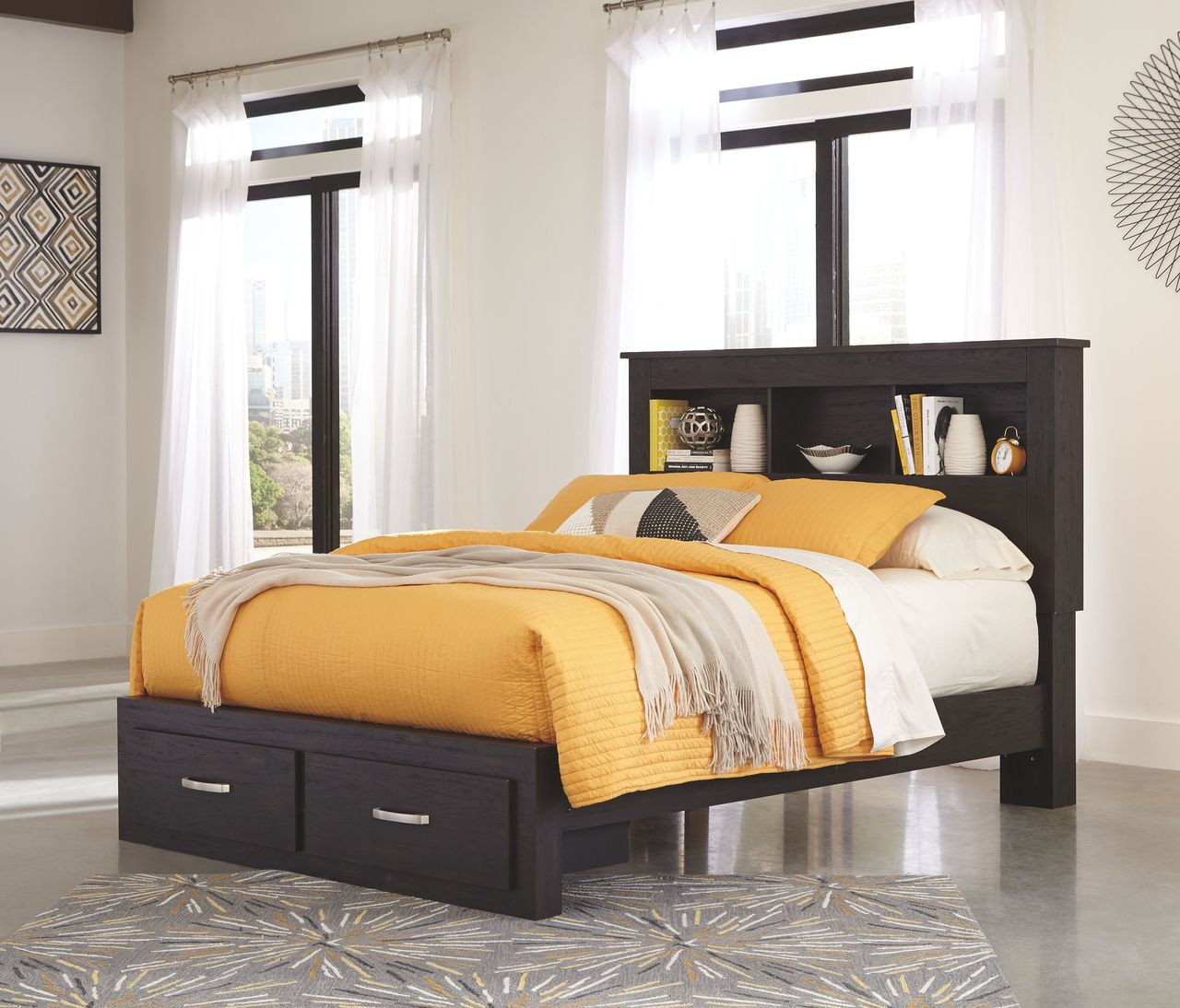 Picture of: The Reylow Dark Brown Queen Bookcase Storage Bed Available At Ritz Furniture Planet Serving Mississauga On