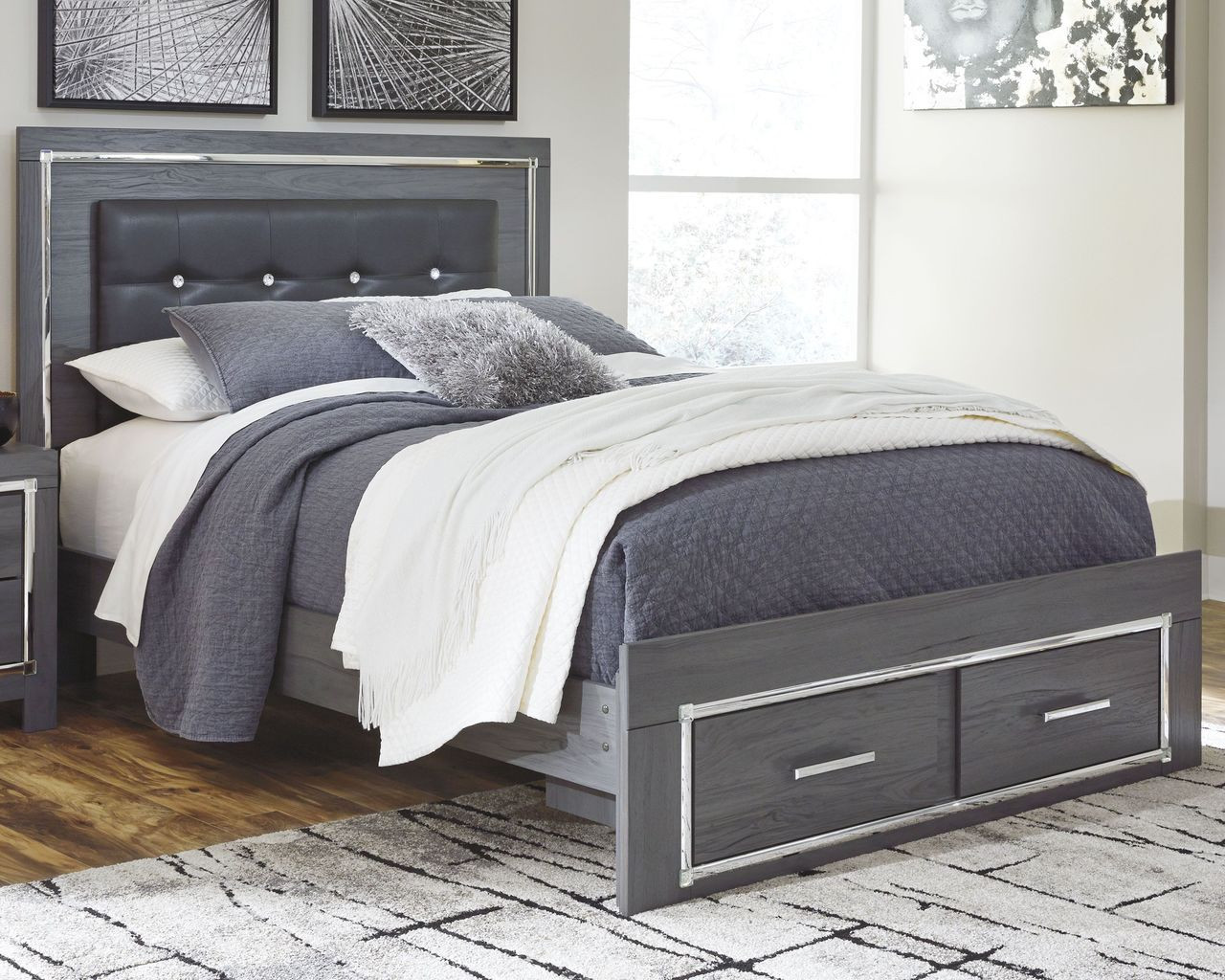 The Lodanna Gray Queen Panel Bed With Storage Available At Ritz Furniture Planet Serving Mississauga On