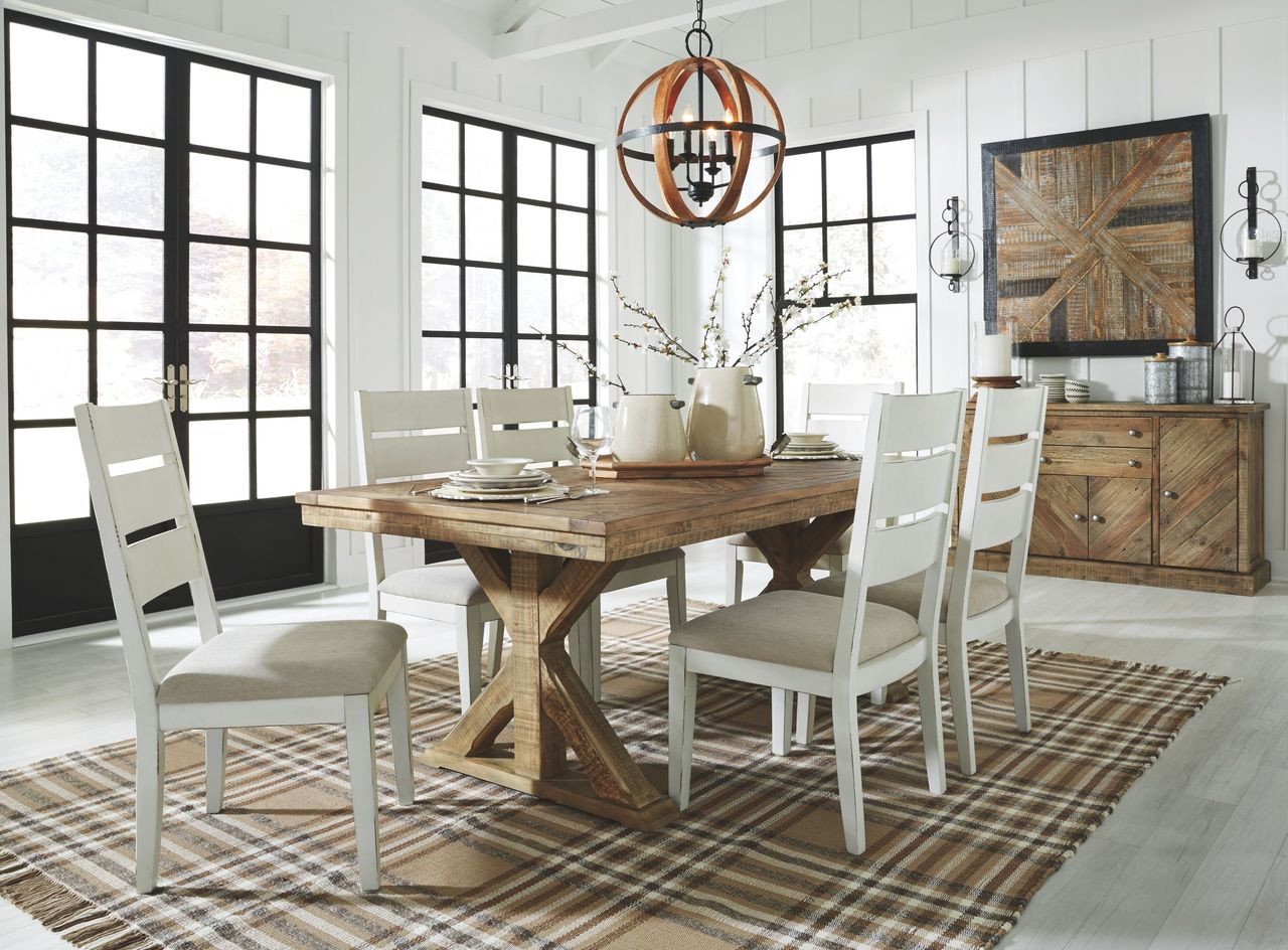 The Grindleburg Light Brown 8 Pc Rectangular Table 6 Side Chairs Server Available At Ritz Furniture Planet Serving Mississauga On