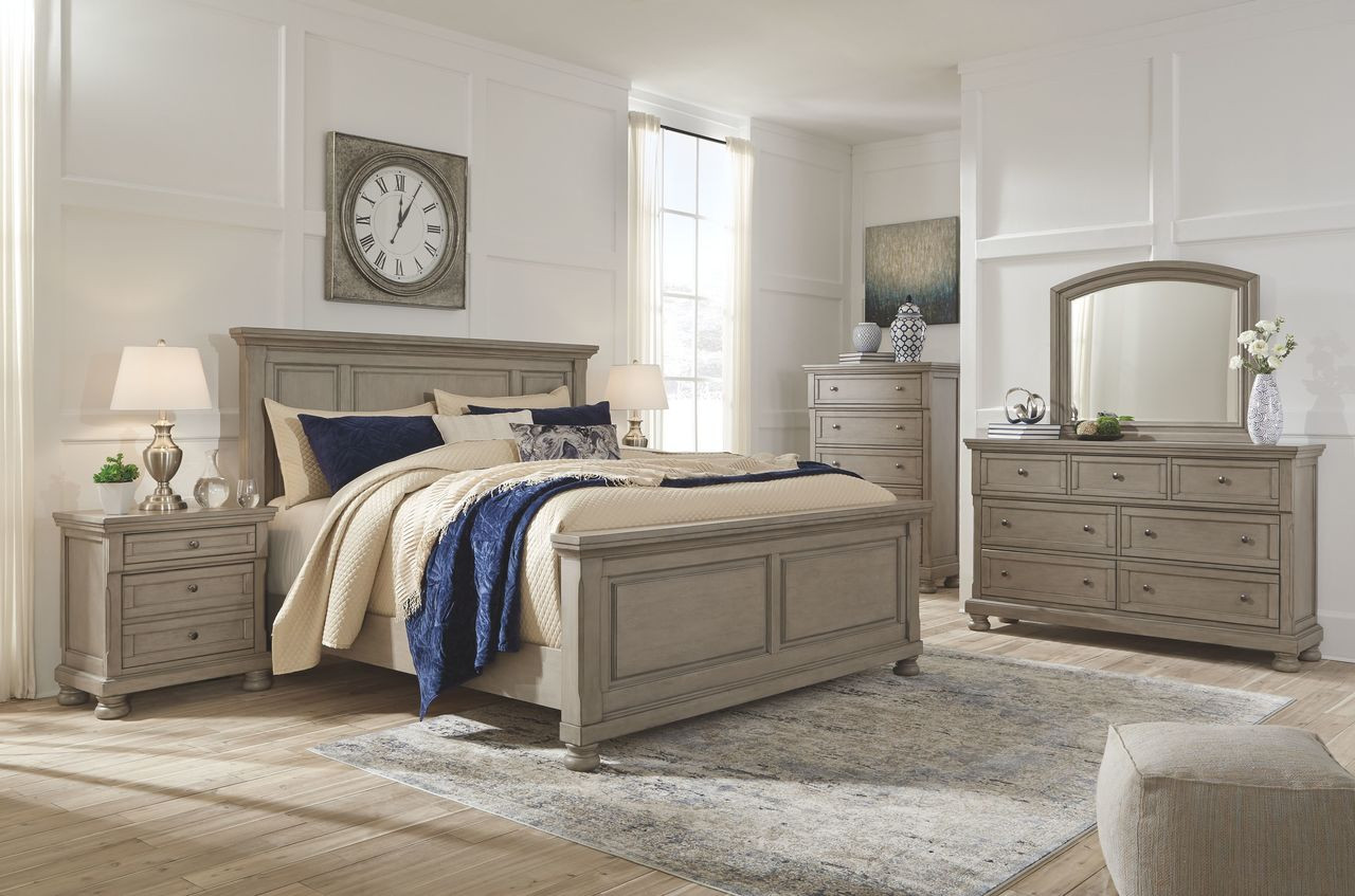 The Lettner Light Gray 8 Pc Dresser Mirror Chest Queen Panel Bed 2 Nightstands Available At Ritz Furniture Planet Serving Mississauga On
