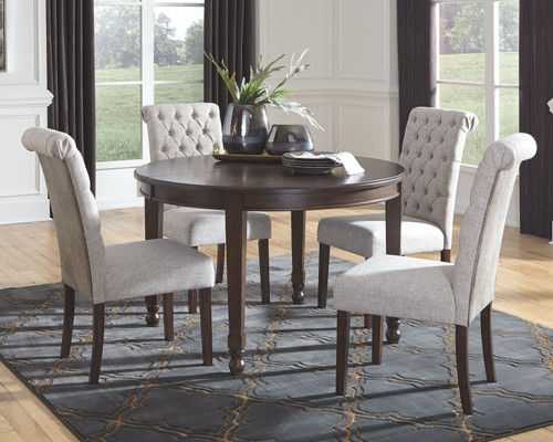Adinton Reddish Brown 5 Pc. Oval DRM Extension Table & 4 Upholstered Side Chairs