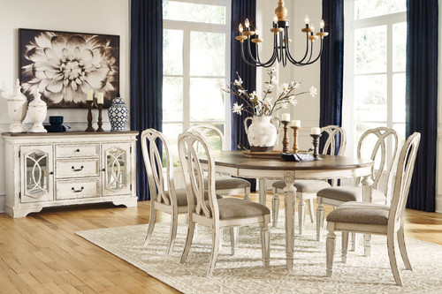 Realyn Chipped White 8 Pc. Oval DRM Extension Table, 6 Upholstered Side Chairs & DRM Server