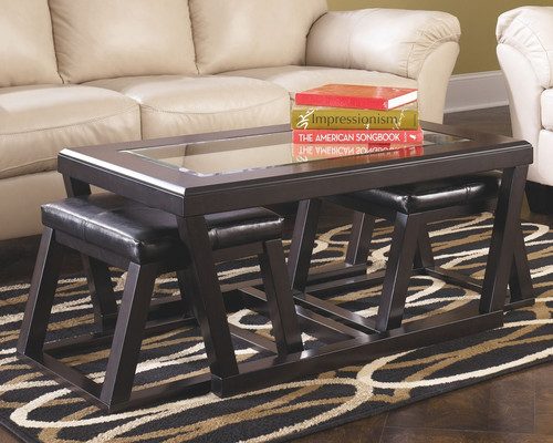 -Ashley T592 Coffee Table With 2 Stools - On Sale