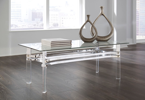 -Ashley T420 Glass Rectangular Coffee Table  - On Sale
