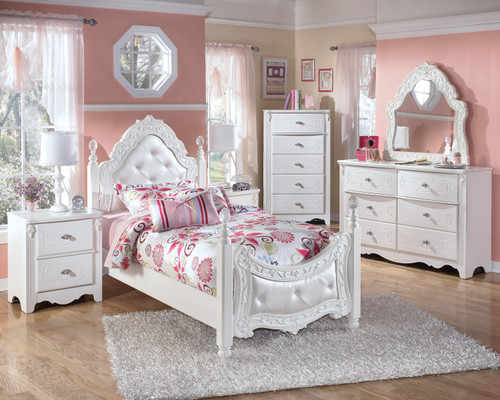 - Ashley B188 Exquisite White Single Poster Bed Only - On Sale