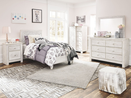 Paxberry Whitewash Dresser, Mirror, Dressing Chest, Twin Panel Bed & Nightstand