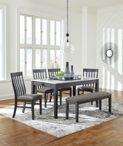 Luvoni White/Dark Charcoal Gray 6 Pc. Rectangular  Table, 4 Upholstered Side Chairs & Upholstered Bench