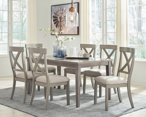 Parellen Gray 7 Pc. Rectangular  Table & 6 Upholstered Side Chairs