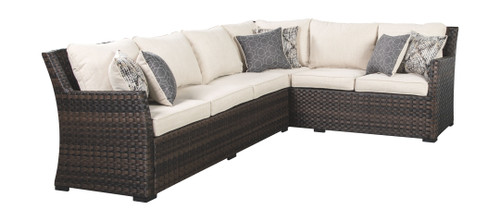 Easy Isle Dark Brown/Beige Sofa SEC/Chair w/CUSH (3/CN)
