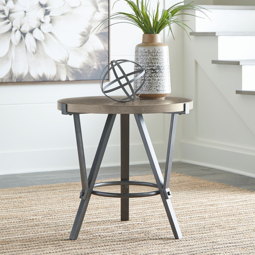 Zontini Light Brown Round End Table