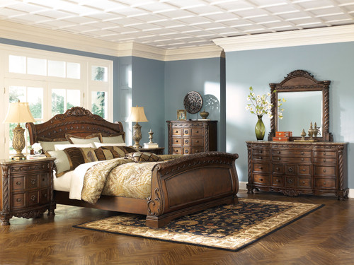 -Ashley B553 Queen Size North Shore Sleigh Bed Only