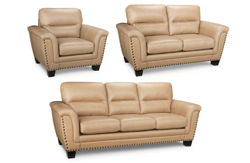 -Made in Canada Leather Sofa only -  Camel  - On Sale