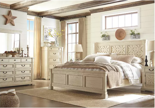 -Ashley B647 Queen Size Bed Only  - Antique White