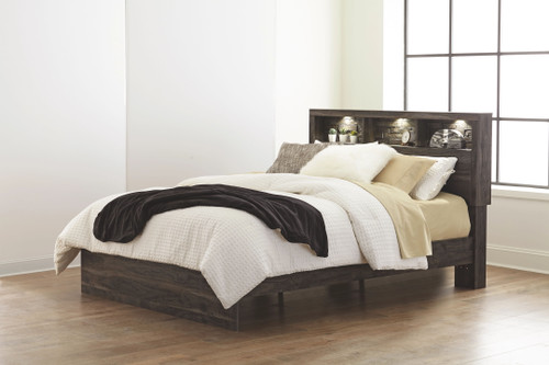 Vay Bay Charcoal Queen Bookcase Panel Bed