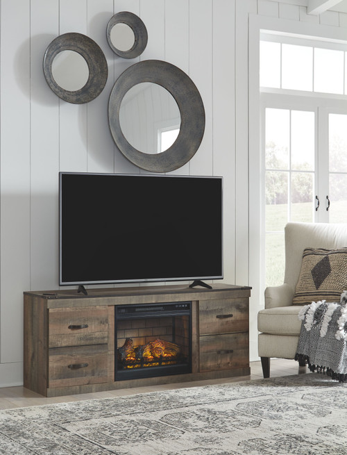 Trinell Brown 63 TV Stand with Electric Fireplace