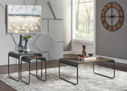 Larzeny Brown/Black Occasional Table Set (3/CN)