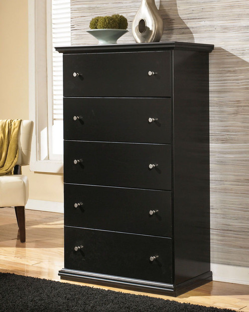Maribel Black Five Drawer Chest