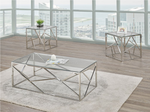 -Glass & Metal Coffee Table Only - On Sale