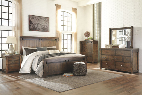 Lakeleigh Brown 7 Pc. Dresser, Mirror, California King Panel Bed & 2 Nightstands