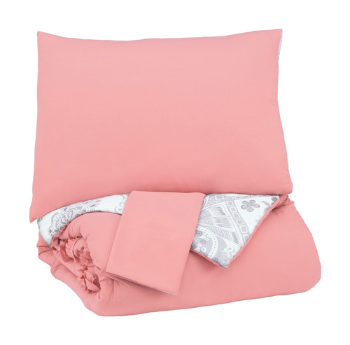 Avaleigh Pink/White/Gray Full Comforter Set