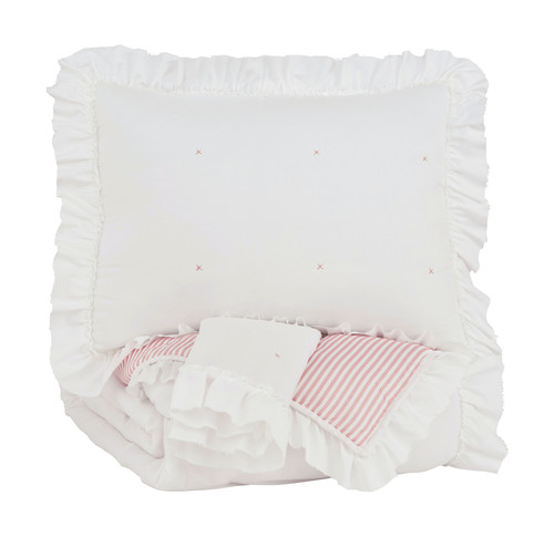 Jenalyn White/Light Pink Full Comforter Set