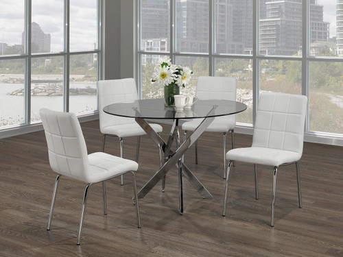 -5pc White  Dining Set With Chrome Legs- On Sale