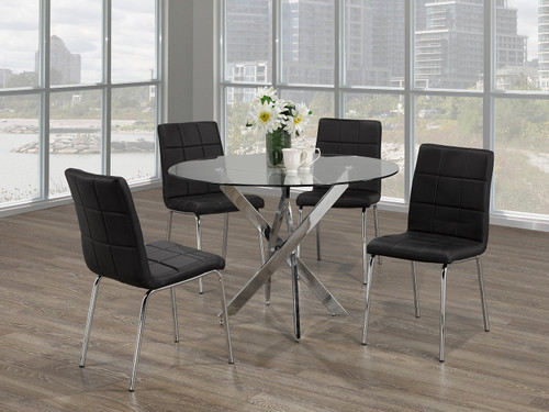 -5pc Black Dining Set With Chrome Legs- On Sale