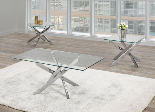 -Glass Coffee Table With Stainless Steel Legs Only - On Sale