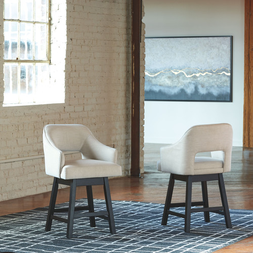 Tallenger White/Dark Brown Upholstered Swivel Barstool