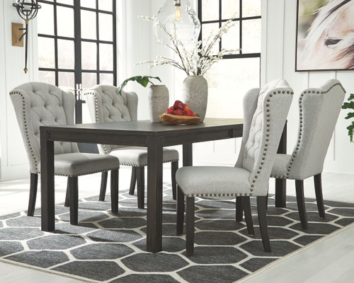 Jeanette Black 5 Pc. Rectangular  Table & 4 Upholstered Side Chairs