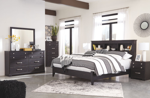 Reylow Dark Brown 4 Pc. Dresser, Mirror & King Bookcase Bed