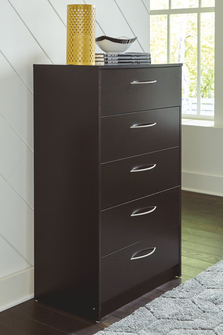 Flannia Black Five Drawer Chest